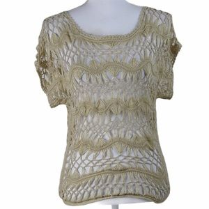 Maurices Tan Crochet Top